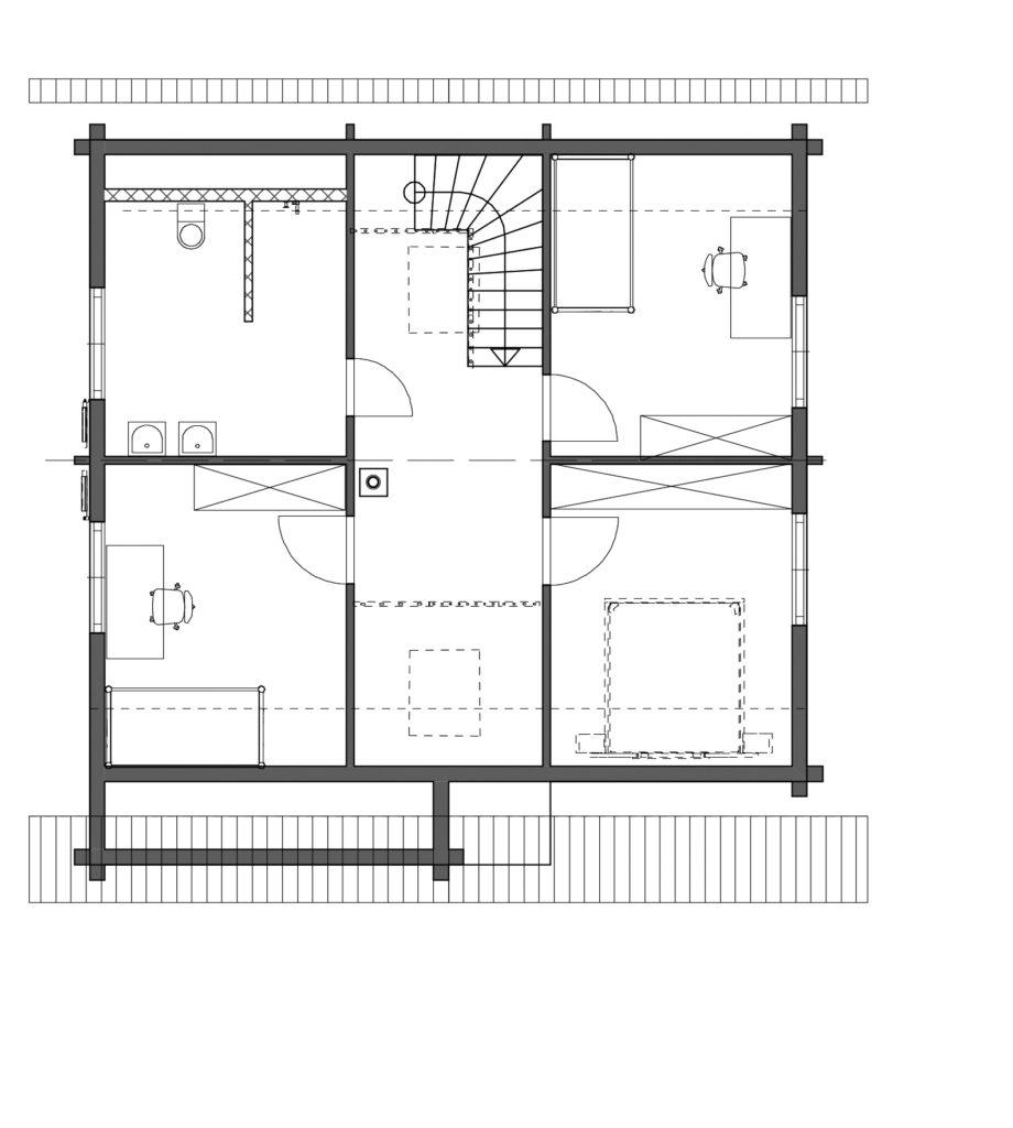 Blockhaus Rutesheim von Rems-Murr-Holzhaus, Grundriss Obergeschoss