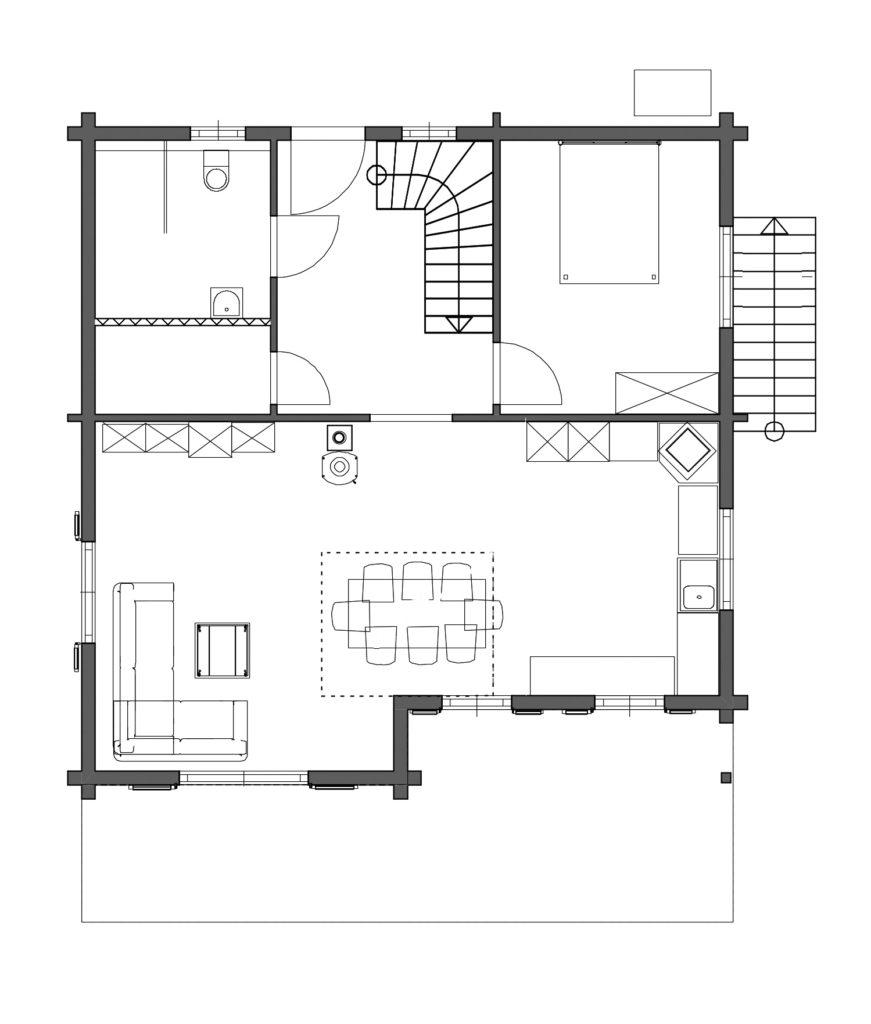 Blockhaus Rutesheim von Rems-Murr-Holzhaus, Grundriss Erdgeschoss