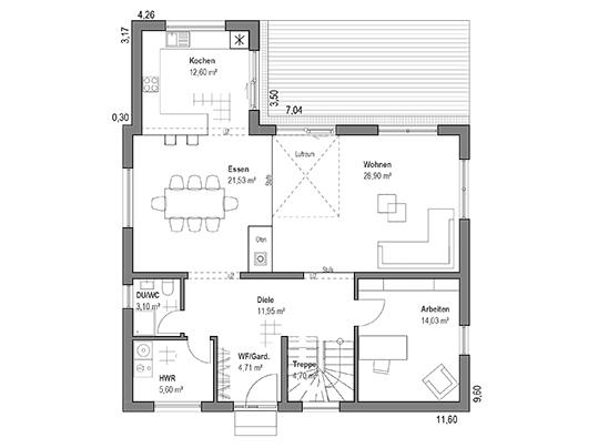 Grundriss Erdgeschoss im Haus Walmdach 179 von Luxhaus