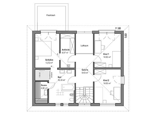 Grundriss Obergeschoss im Haus Walmdach 179 von Luxhaus
