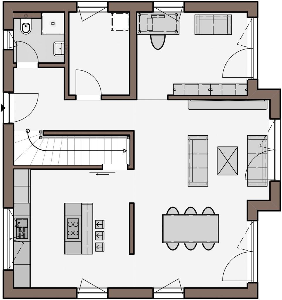 Haus Fortuna von Büdenbender Hausbau. Grundriss Erdgeschoss