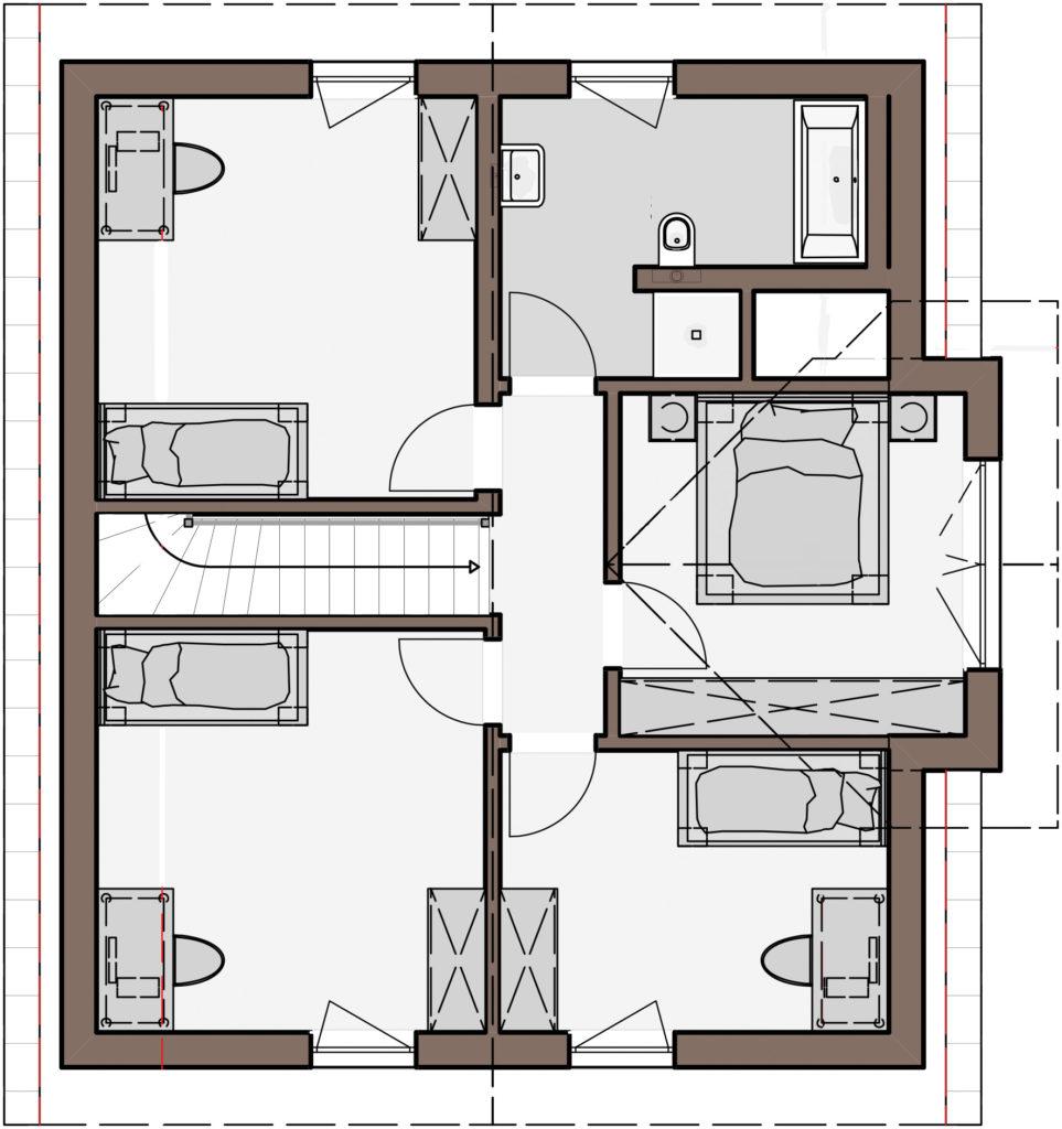 Haus Fortuna von Büdenbender Hausbau. Grundriss Obergeschoss