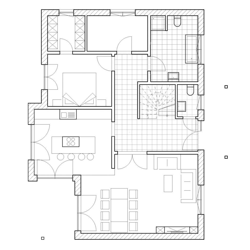 Chalet 150V von Favorit Massivhaus, Grundriss Erdgeschoss