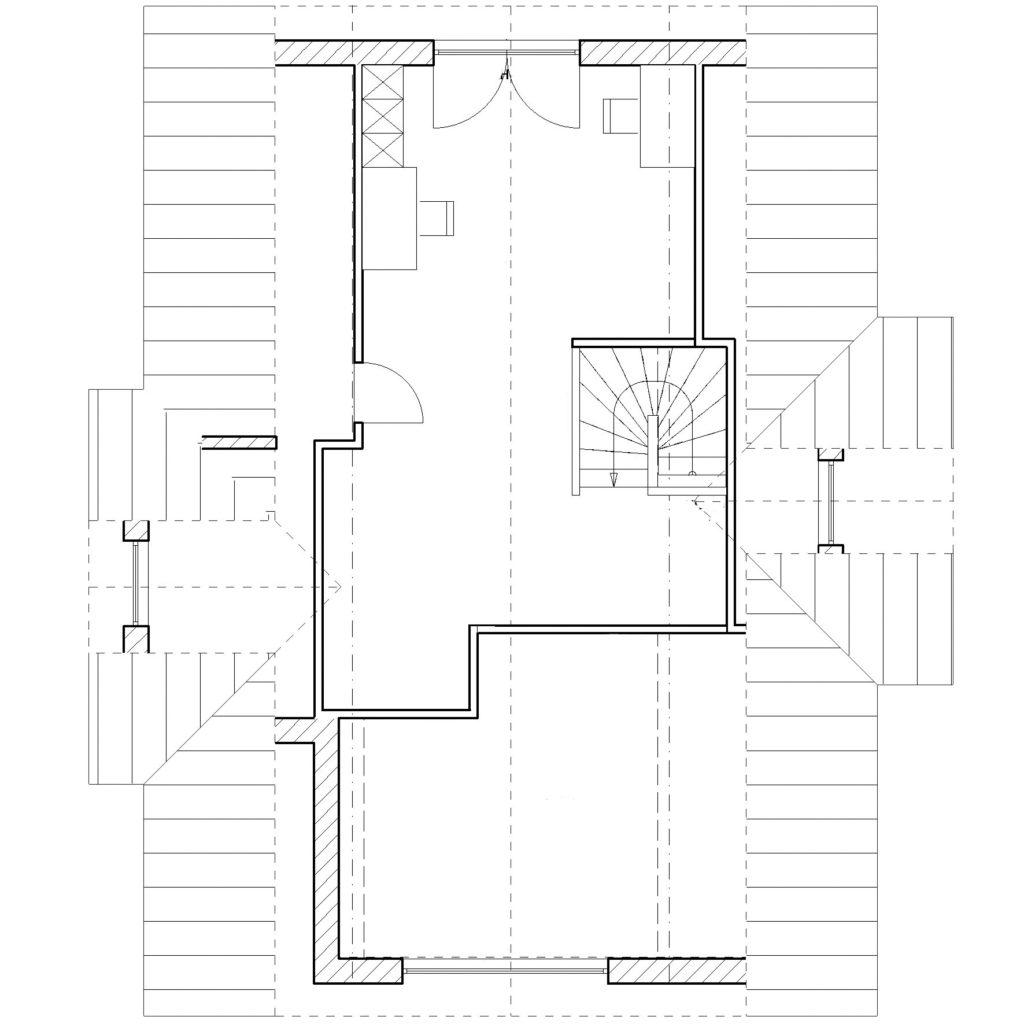 Chalet 150V von Favorit Massivhaus, Grundriss Dachgeschoss