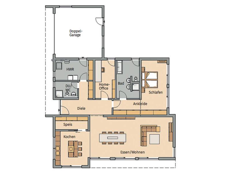 Grundriss Bungalow Purea von Kern Haus