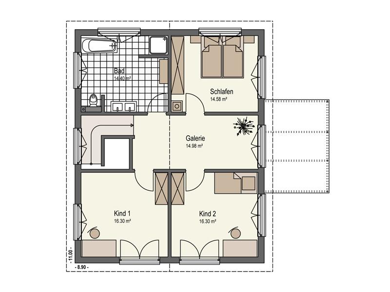 Grundriss Obergeschoss Haus Mühlwiesen Keitel Haus