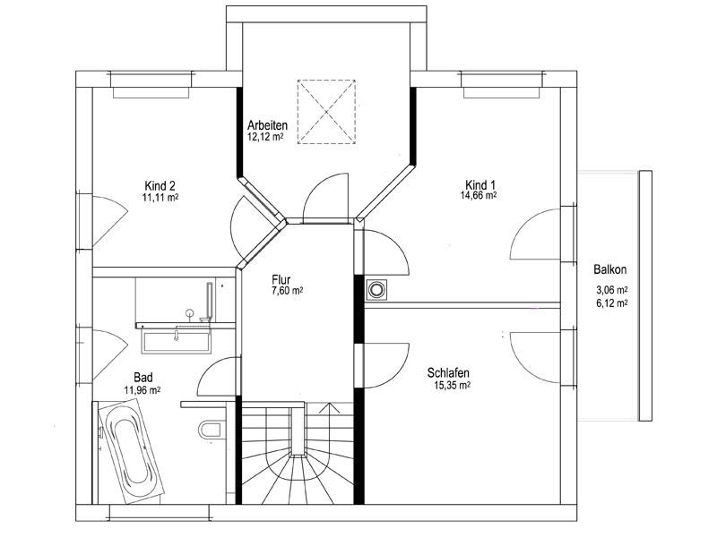 Grundriss Obergeschoss Satteldach Landhaus 143 von Luxhaus