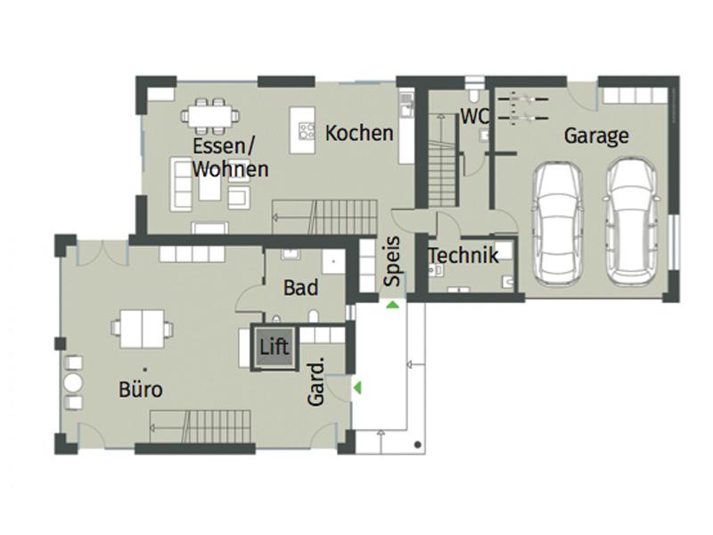 Grundriss Erdgeschoss Haus Cronenbourg von Gussek Haus