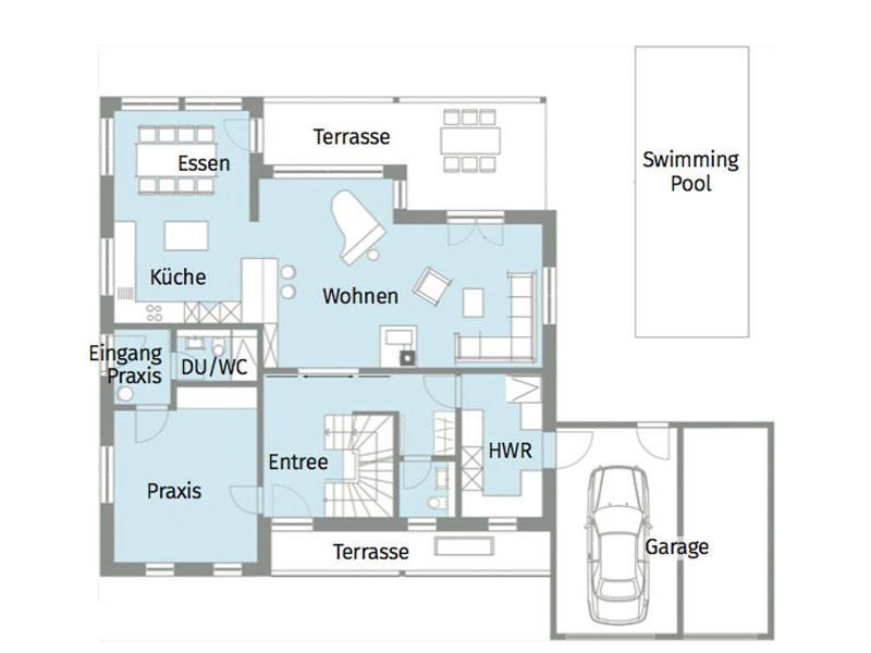 Grundriss Erdgeschoss Kundenhaus van Dyck von Baufritz