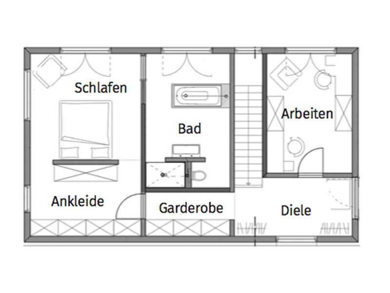 Grundriss Erdgeschoss Irtenkauf von Fertighaus Weiss