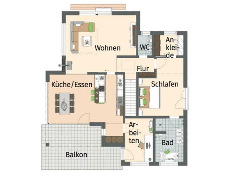 Grundriss Erdgeschoss Architektenhaus von Fingerhaus