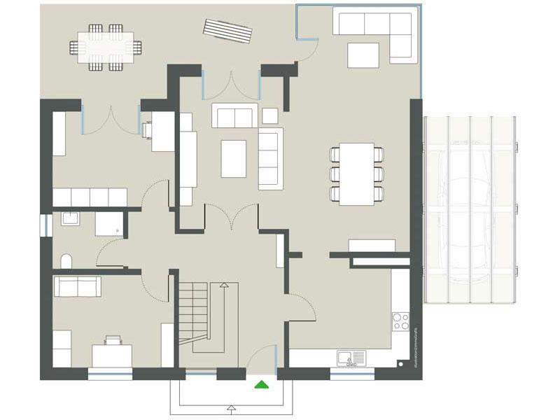 Grundriss Erdgeschoss Haus Hochstätten von Gussek Haus