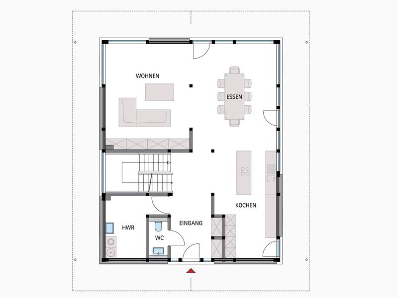 Grundriss Erdgeschoss Modum 8 Hollemann von Huf Haus