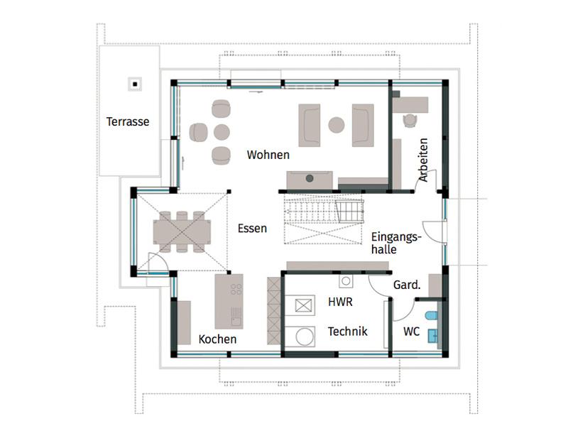 Grundriss Erdgeschoss Art 5 von Huf Haus