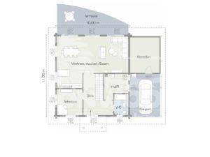 Grundriss Erdgeschoss Musterhaus Lapin Kult von Leonwood