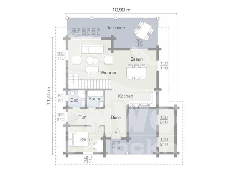 Blockhaus Waldschlösschen von Leonwood. Grundriss Erdgeschoss