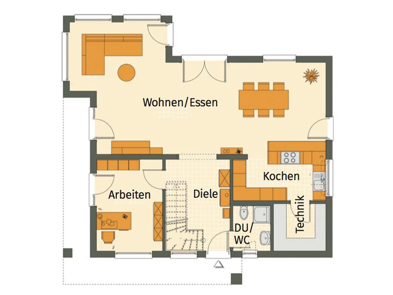 Haus Hilzendegen von Living Fertighaus. Grundriss Erdgeschoss