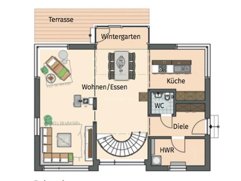 Grundriss Erdgeschoss individuelle Planung Sander von Fingerhaus