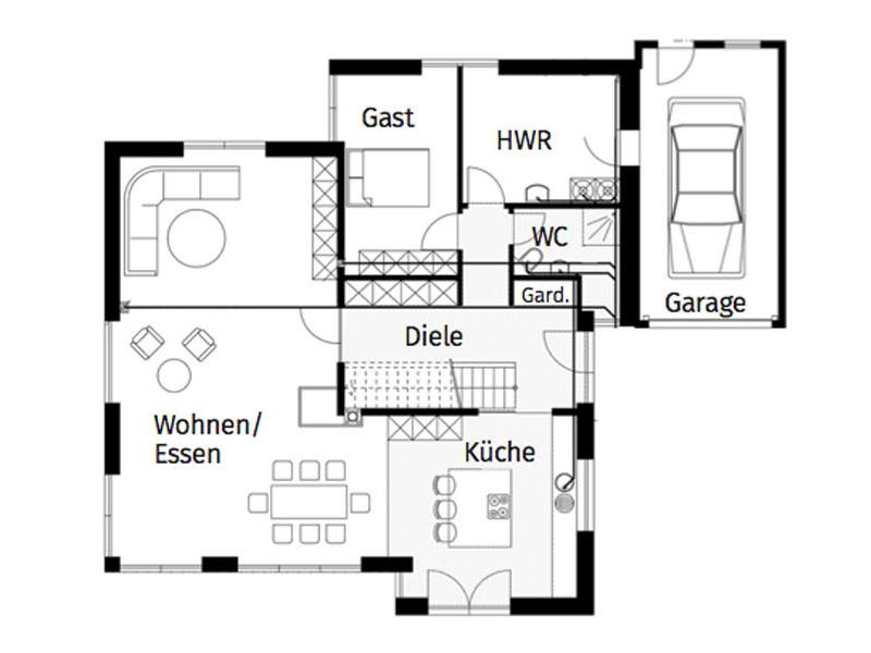 Grundriss Erdgeschoss individueller Kubus von Arge Haus
