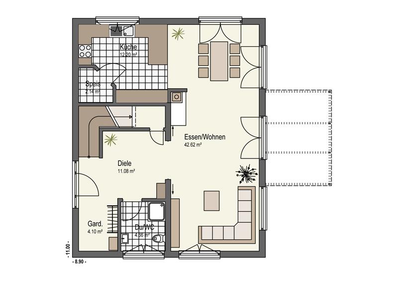 Grundriss Erdgeschoss Haus Mühlwiesen Keitel Haus