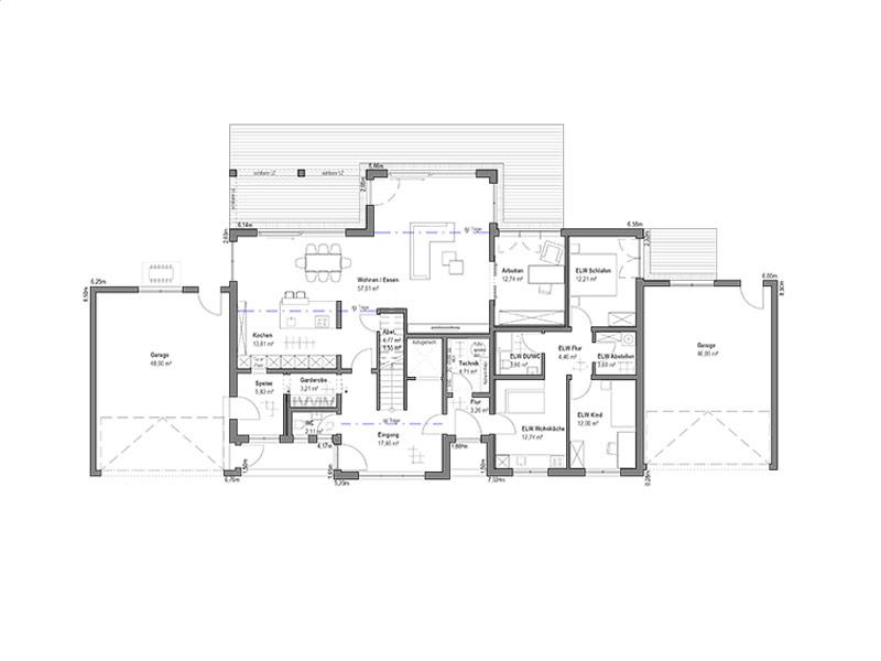 Grundriss Erdgeschoss Pultdach Klassik 205 von Luxhaus