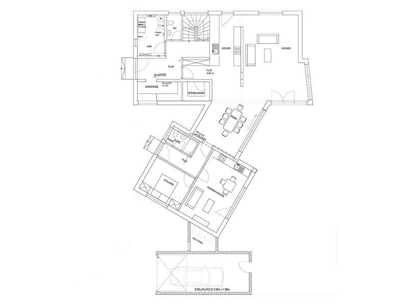 Grundriss Erdgeschoss Pultdach Klassik 233 von Luxhaus