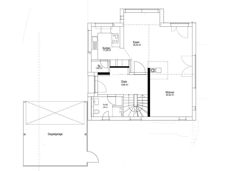 Grundriss Erdgeschoss Satteldach Landhaus 143 von Luxhaus