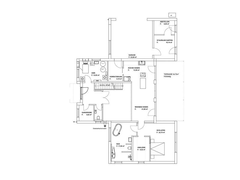 Grundriss Erdgeschoss Pultdach Klassik 254 von Luxhaus