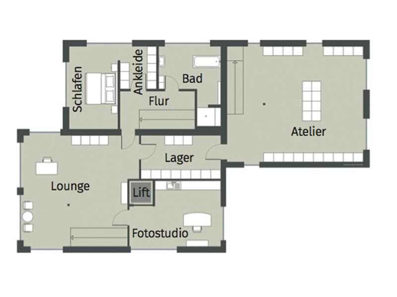 Grundriss Obergeschoss Haus Cronenbourg von Gussek Haus