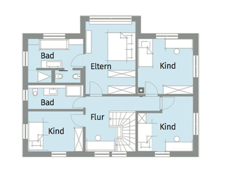Grundriss Obergeschoss Kundenhaus van Dyck von Baufritz