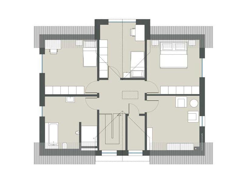 Grundriss Obergeschoss Haus Hochstätten von Gussek Haus