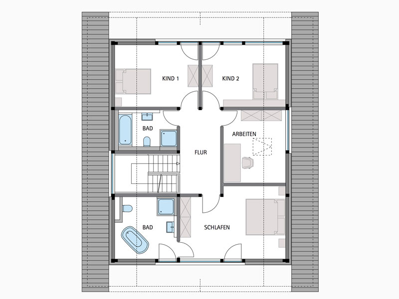 Grundriss Obergeschoss Modum 8 Hollemann von Huf Haus