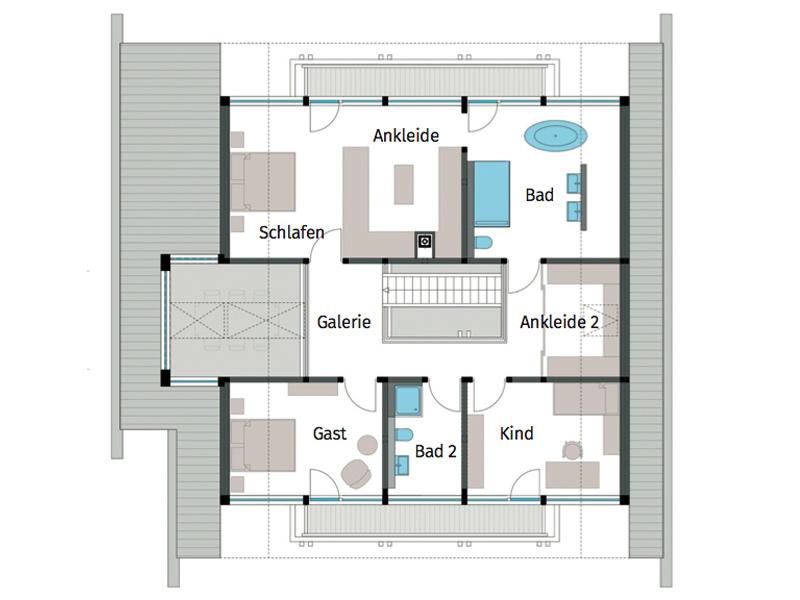 Grundriss Obergeschoss Art 5 von Huf Haus