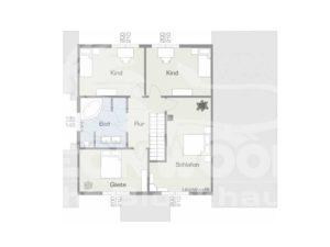 Grundriss Obergeschoss Musterhaus Lapin Kulta von Leonwood