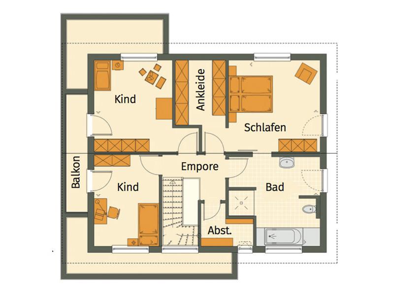 Haus Hilzendegen von Living Fertighaus. Grundriss Obergeschoss