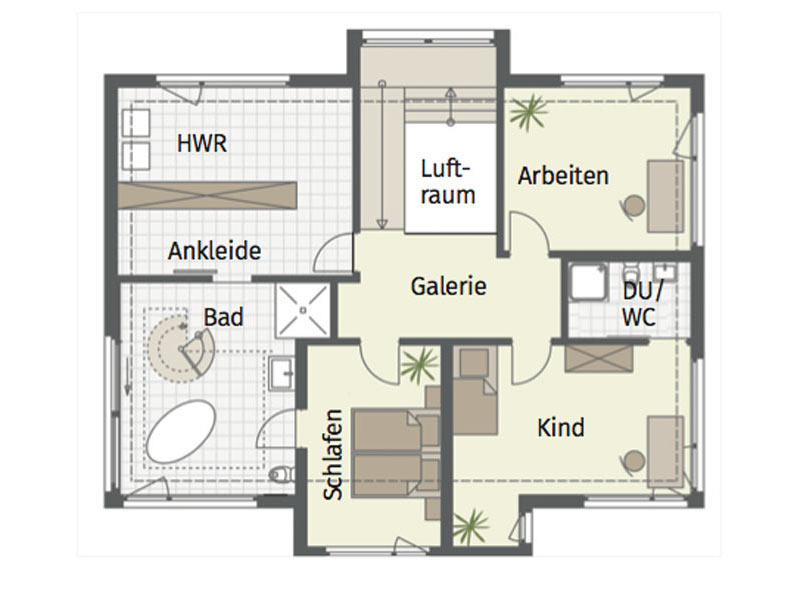Grundriss Obergeschoss Musterhaus Fellbach von Keitel Haus