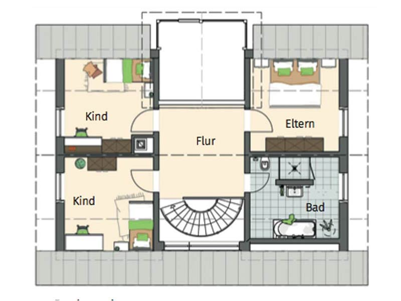 Grundriss Obergeschoss individuelle Planung Sander von Fingerhaus