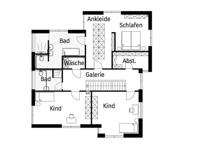 Grundriss Obergeschoss individueller Kubus von Arge Haus