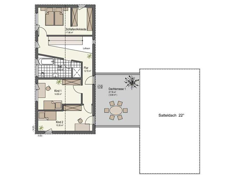 Grundriss Obergeschoss Haus Landhege von Keitel Haus