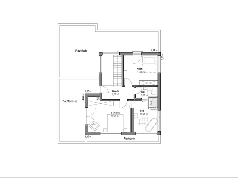 Grundriss Obergeschoss Pultdach Klassik 189 von Luxhaus