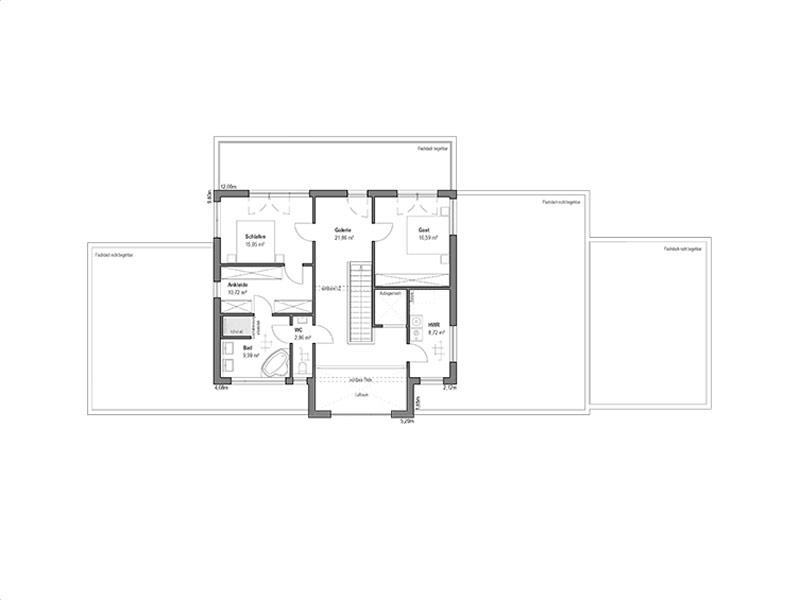 Grundriss Obergeschoss Pultdach Klassik 205 von Luxhaus