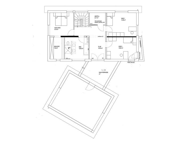 Grundriss Obergeschoss Pultdach Klassik 233 von Luxhaus
