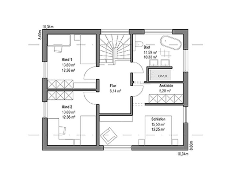 Grundriss Obergeschoss Satteldach Landhaus 126 von Luxhaus