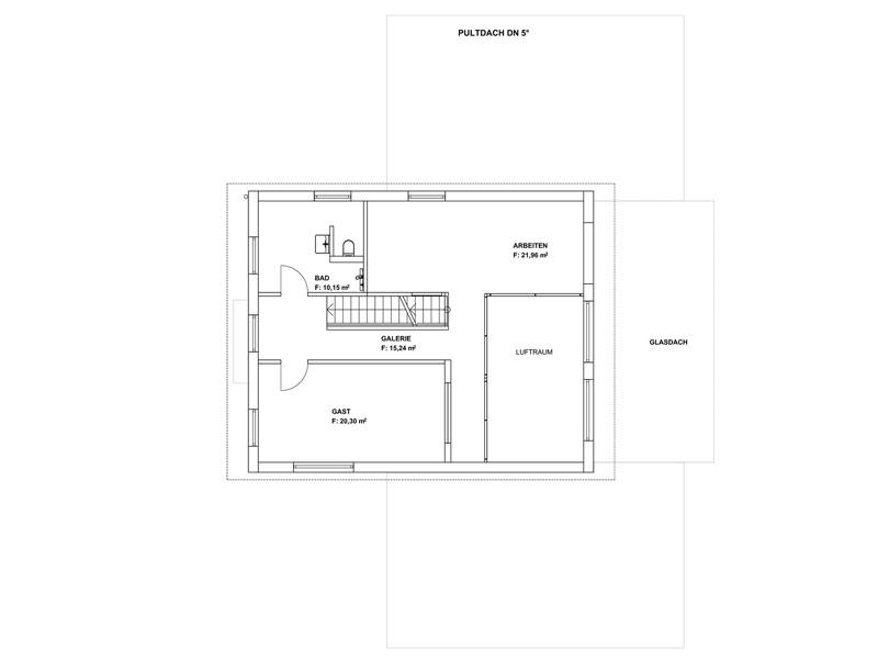 Grundriss Obergeschoss Pultdach Klassik 254 von Luxhaus