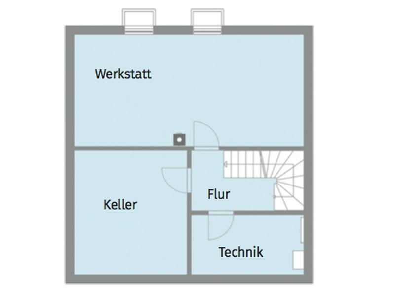 Grundriss Untergeschoss Kundenhaus van Dyck von Baufritz