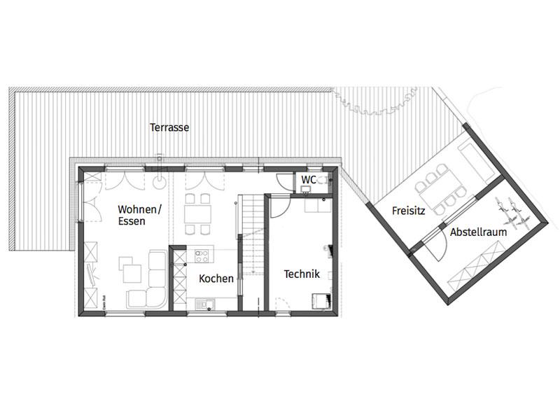 Grundriss Untergeschoss Irtenkauf von Fertighaus Weiss