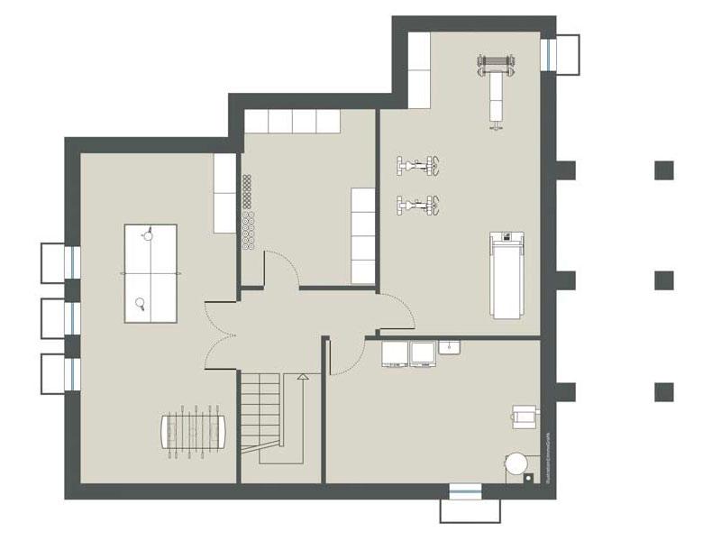 Grundriss Untergeschoss Haus Hochstätten von Gussek Haus