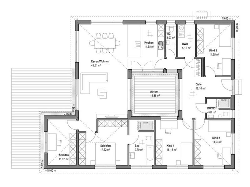 Grundriss Erdgeschoss Bungalow Walmdach 172 von Luxhaus