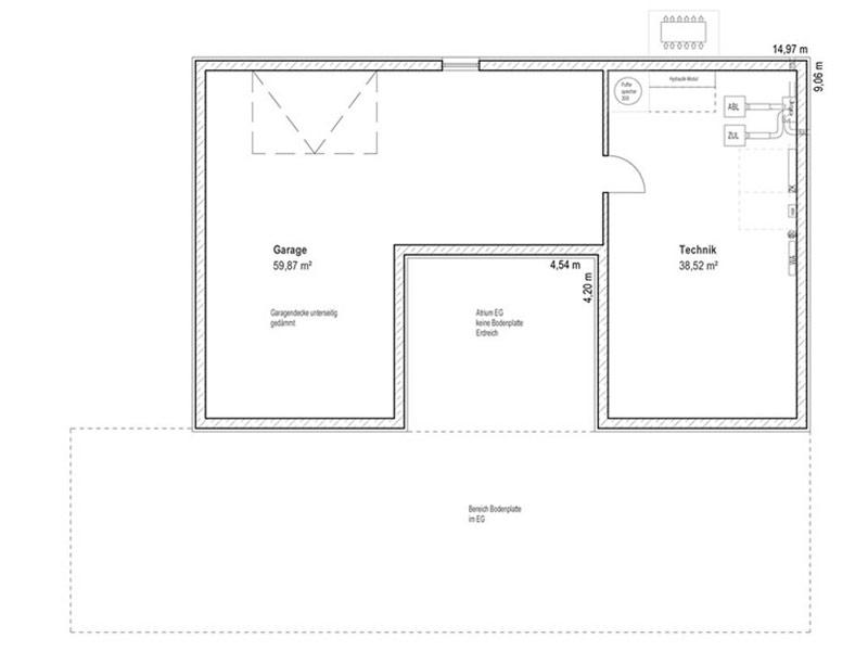 Grundriss Untergeschoss Bungalow Walmdach 172 von Luxhaus