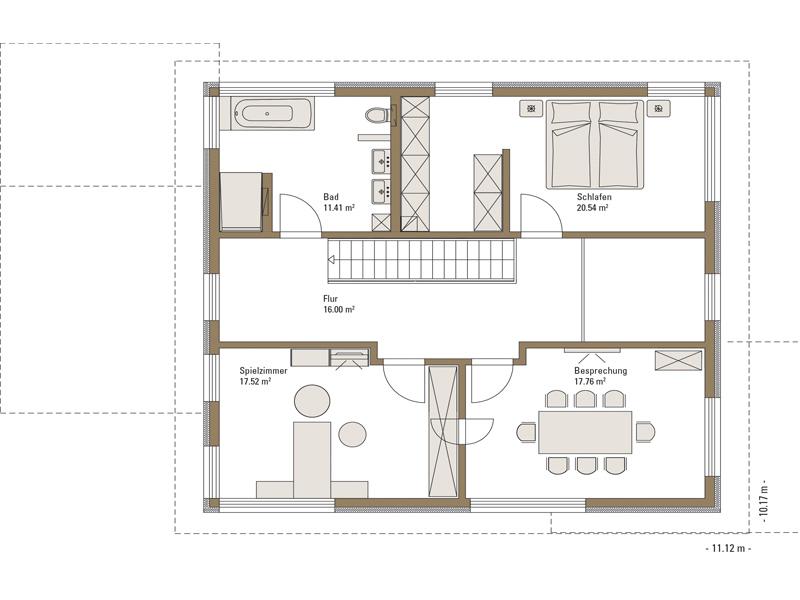 Grundriss Obergeschoss Musterhaus Mannheim von Fertighaus Weiss
